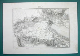1846 MAP - SWITZERLAND Environs of Zurich Dietikon Uitikon Regensdorf Ur... - $18.90