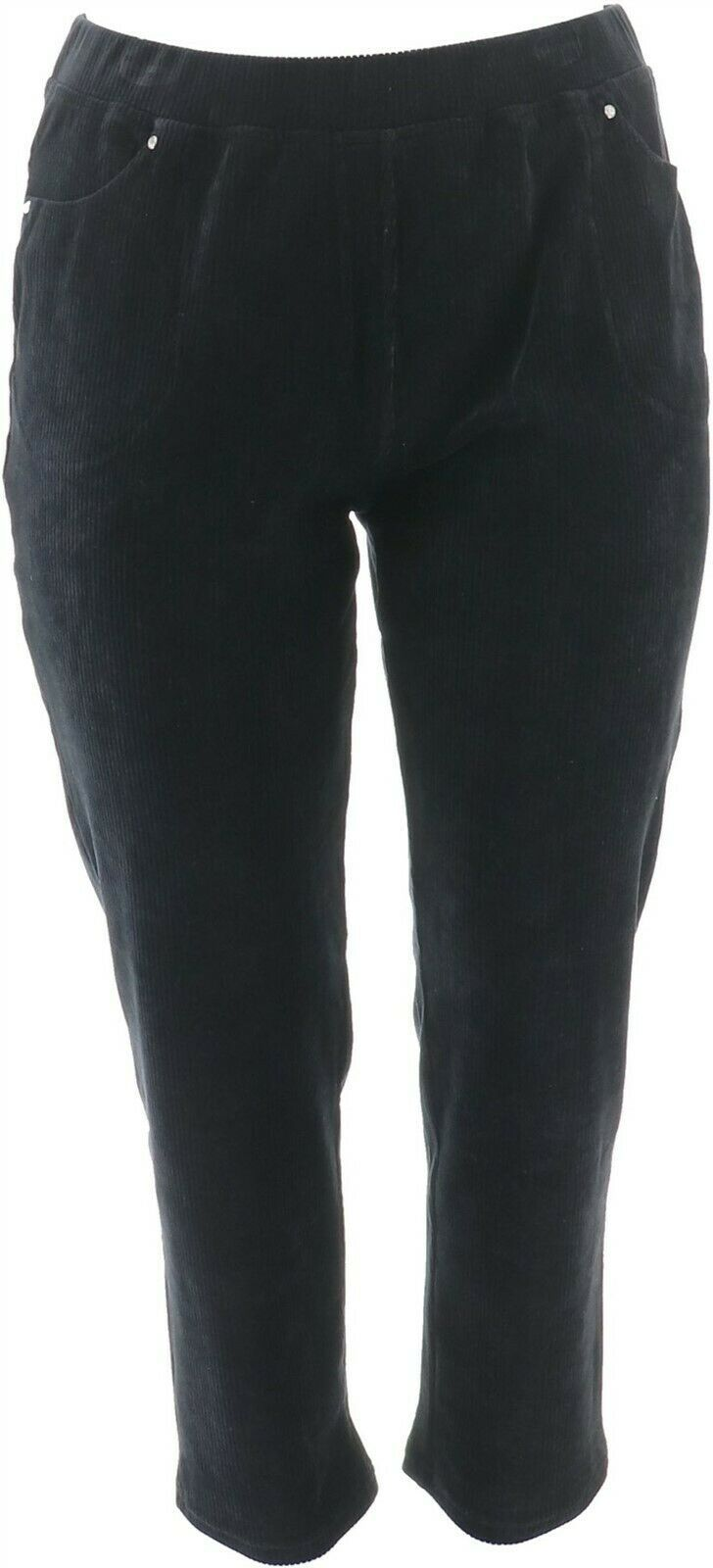 Primary image for Quacker Factory Short Knit Corduroy Pull-On Slim Leg Pant Black M NEW A270900