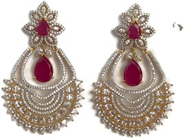 Ea e196 Bollywood Fashion white Polki & simulated Ruby stones golden ear... - $37.49