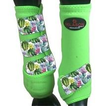 L - Hilason Horse Medicine Sports Boots Front Leg Lime U-US-L - $65.33