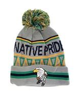 Native Pride Eagle Cuffed Knit Winter Hat Pom Beanie (Light Gray) - $12.95