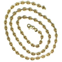 """18K YELLOW GOLD OVAL NAUTICAL MARINER CHAIN 5 MM, 20"""", ANCHOR ROUNDED NECKLACE image 2"""
