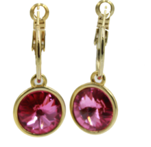 Swarovski Elements Round Rose Pink Bella Earrings Gold Plated Dangle Ear... - $26.14