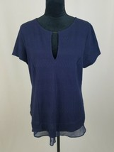 Anthropologie Deletta women L navy blue keyhole textured blouse short sl... - $24.75