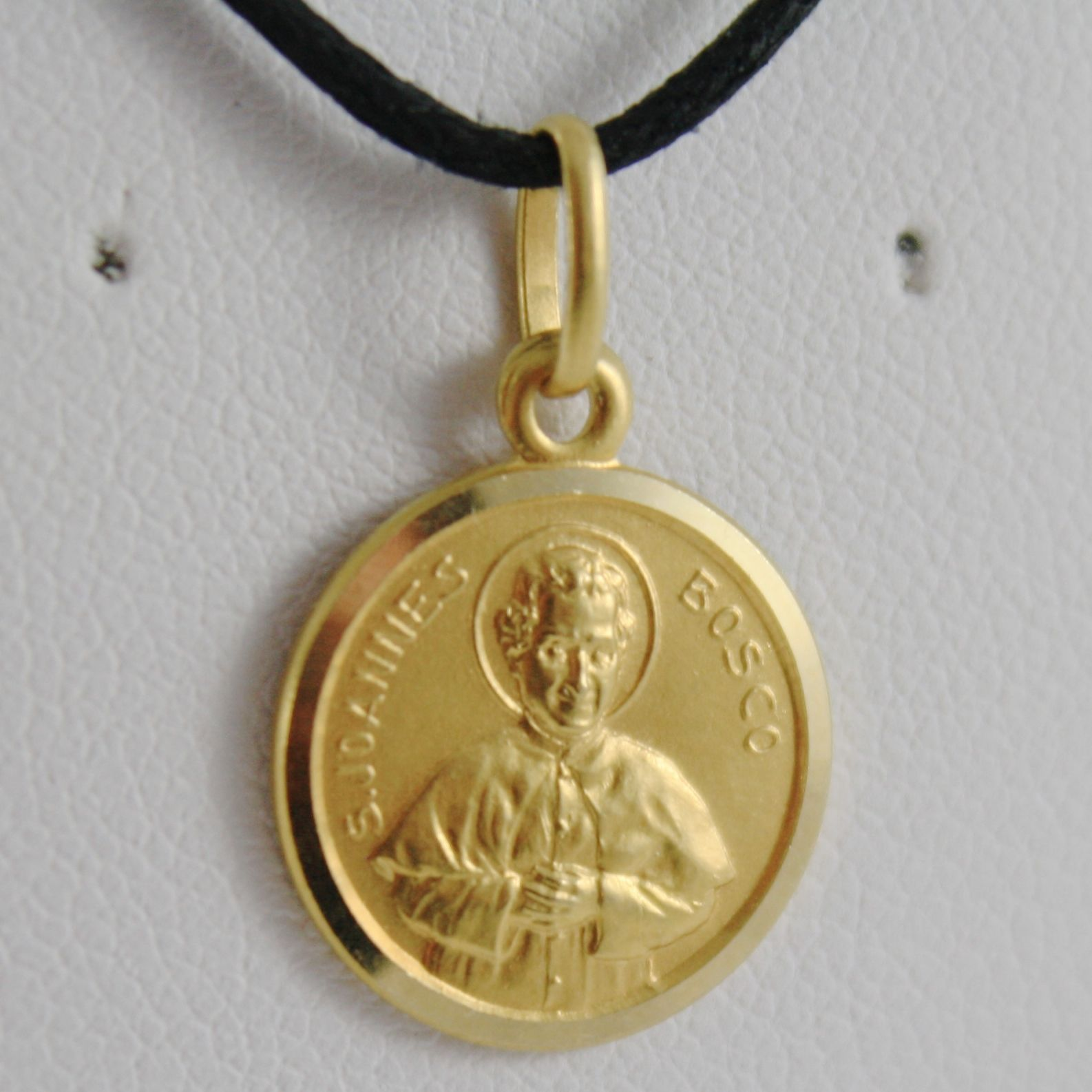 SOLID 18K YELLOW GOLD ST SAINT JOANNES GIOVANNI BOSCO 13 MM MEDAL, MADE IN ITALY