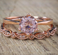 Round AAA Engagement Wedding Solitaire Bridal Ring Set 14K Rose Gold Over Silver - $116.79