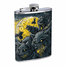 Hungry Wolf Moon Em1 Flask 8oz Stainless Steel Hip Drinking Whiskey - $13.81