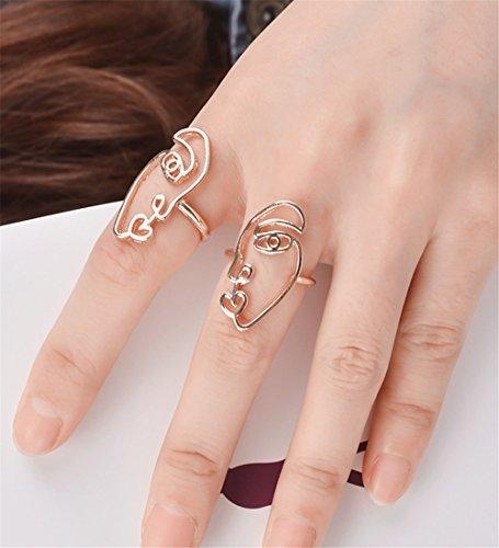 Mrotrida Face Earrings Set Abstract Art Human Face Hand Dangle Earring & Face Ri