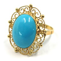 18K YELLOW GOLD RING, CABOCHON OVAL TURQUOISE WORKED FLOWER FRAME, MADE IN ITALY image 1
