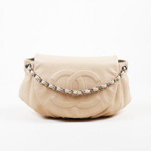 "Chanel Beige Caviar Leather Quilted Large ""Half Moon"" Shoulder Bag - $31.905,62 MXN"