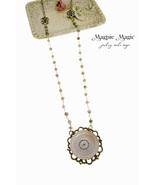 Heritage Drop Necklace: vintage button, filigree focal, silver&grey rosa... - $15.00