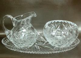 Beautiful Heavy Crystal Pinwheel Cut Creamer, Sugar Bowl & Tray Euc - $24.24