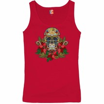 Christmas Calavera Women's Tank Top Sugar Skull Holiday Spirit Mistletoe  - $14.26+