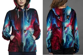 Women Sweater  Galaxy Wolf Hoodie Fullprint Zipper Women - $51.99+