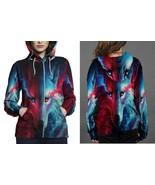 Women Sweater  Galaxy Wolf Hoodie Fullprint Zipper Women - $51.99+