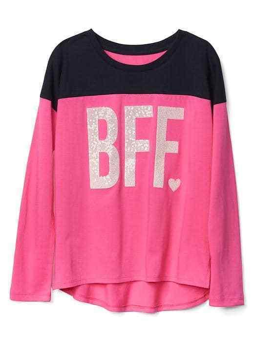 GAP Kids Girls T-shirt 14 16 Pink Navy Best Friend Graphic Long Sleeve Crew Neck
