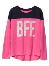 GAP Kids Girls T-shirt 14 16 Pink Navy Best Friend Graphic Long Sleeve Crew Neck