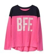 GAP Kids Girls T-shirt 14 16 Pink Navy Best Friend Graphic Long Sleeve C... - £13.56 GBP