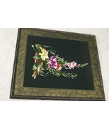 English Bouquet Handstitched Hmong Masterpiece Silk Embroidery Art Frame... - $379.99