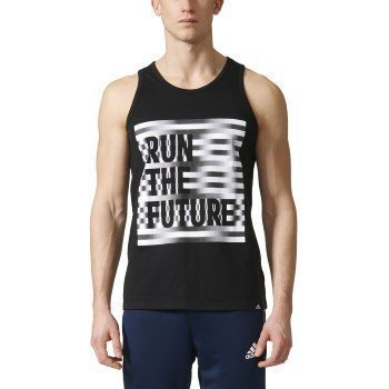 Adidas Mens Athletics Future Run Tank, Black/Reflective Silver, X-Large