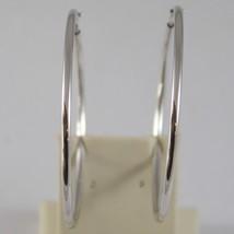 18K WHITE GOLD CIRCLE EARRINGS HOOP, TUBE, DIAMETER 1.61 In MADE IN ITALY image 2