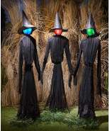 Three Life Size Witch Sisters Holding Hands Halloween Holiday Decorations  - $60.00