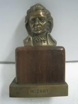 Antique bust figure figurine in bronze and wood Mozart composer - $27.69