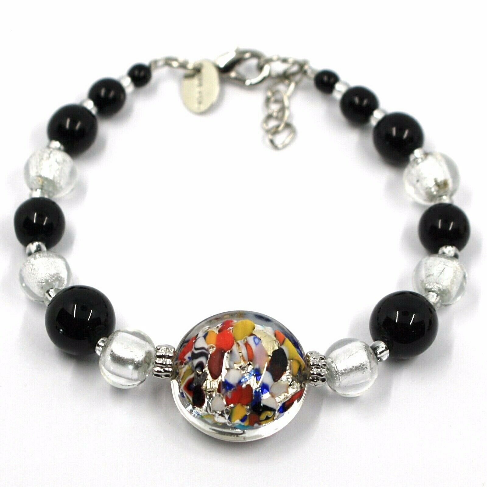 BRACELET MACULATE MULTI COLOR MURANO GLASS DISC, SILVER LEAF, MADE IN ITALY