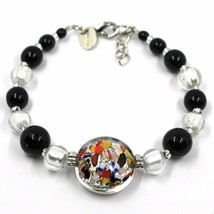 BRACELET MACULATE MULTI COLOR MURANO GLASS DISC, SILVER LEAF, MADE IN ITALY image 1