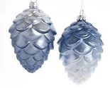 Set of 2 Glass Blue and White Pinecone Ornaments w