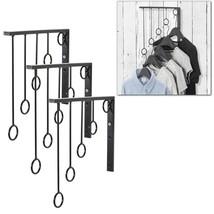 Set of 3 Garment Racks Wall Mounted 5 Ring Clothing Organizers Black Storage - $29.99