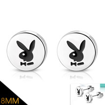 Stainless Steel 2-tone Rabbit Playboy Bunny Circle Stud Earrings - $7.99