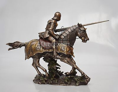 Knight Figure with horse im Attack Rider Decor Sculpture - Great Gift - Bronzed