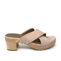 Frye Womens Size 8.5 Cross Strap Block Wood Heel Mule Sandals Pink Leather  - $65.44