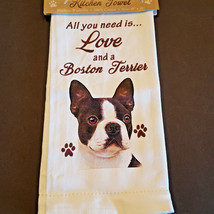 Boston Terrier Kitchen Dish Towel Dog All You Need Is Love Pet Cotton 18... - $11.49