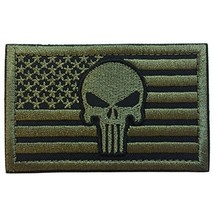 """SpaceAuto USA American Flag Skull Military Tactical Morale Badge Patch 3.15"""" x - $10.36"""