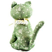 Delton Green Floral Fabric Kitty Cat Jingle Bell Small Door Stopper Doorstop image 3