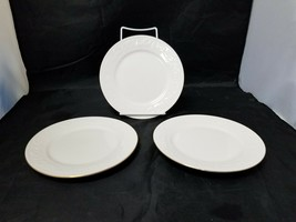 Retroneu Calais Ceramic Salad Plates Set of 3, White w Gold Trim 4173, B... - $17.41