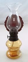 1960s Night Light Japan Amber Glass Miniature Hurricane Oil Lamp w/ Refl... - $26.68