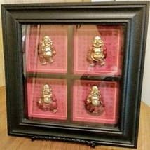"Set of 4 Mini Red/Gold Resin Laughing Happy Buddha Figurines 11"" X 11"" Shadow Bo image 1"