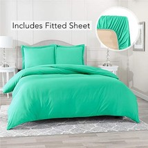 Nestl Bedding Duvet Cover with Fitted Sheet 3 Piece Set - Soft Double Brushed Mi