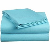 1200 TC Egyptian Cotton Extra Deep Pocket 1 PC Fitted Sheet Aqua Blue Solid - $37.39+