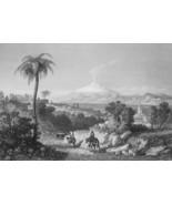 ITALY Sicily Reggio Mount Etna - 1864 Fine Quality Print Engraving - $49.50
