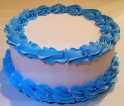 "Large Blue & White Fake Cake w/ Confetti Prop Display 9"" Faux Cake - $39.59"
