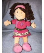 Mary Meyer Plush Baby Doll Dolly Pink Flowers Soft Yarn Hair Embroidered... - $12.86