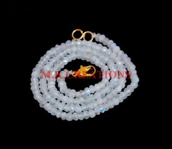 "Natural Rainbow Moonstone 3-4mm Rondelle Faceted Beads 34"" Long Beaded N... - $25.70"