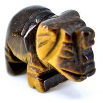 Tiger's Eye Gemstone Tiny Miniature Elephant Figurine Hand Carved in China image 5