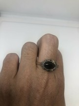 Vintage Black Onyx Marcasite Ring 925 Sterling Silver Size 9 - $51.59