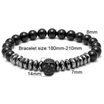 Hot Black Titanium Steel Skull Bracelet Men 8mm Onyx Natural Stone Beads image 2