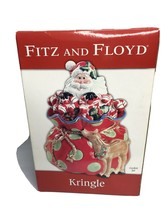 Fitz & Floyd Kringle - Santa, Bag and Reindeer BIG Cookie Jar NEW in Box... - $47.49